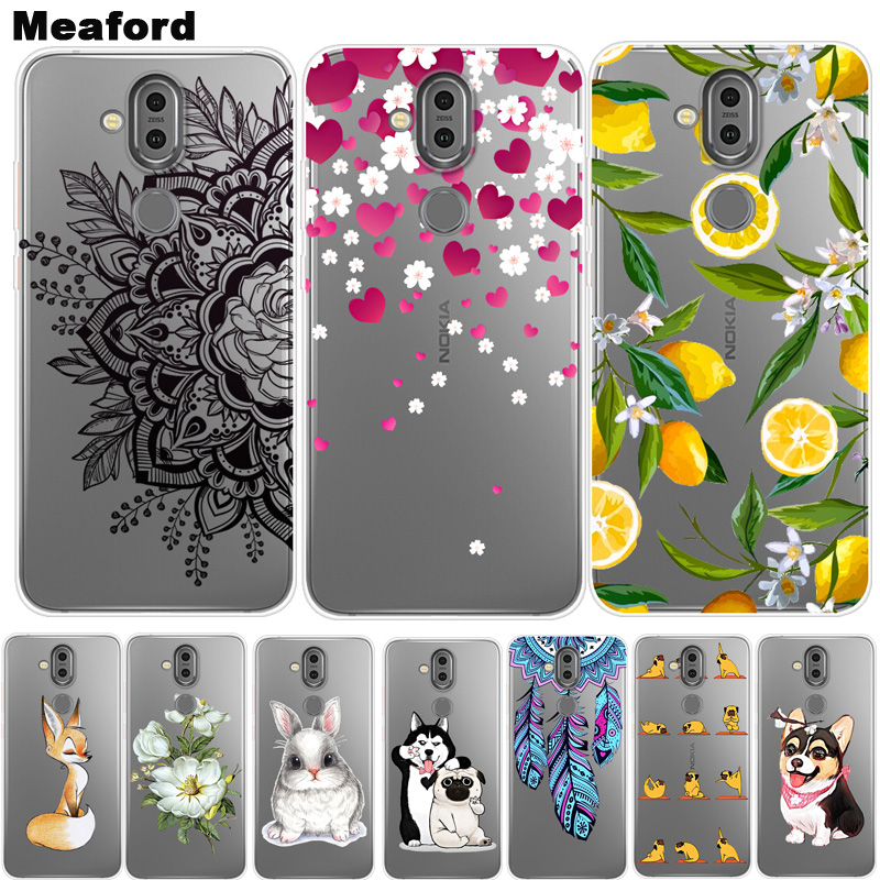 For Nokia 8.1 Case TPU Silicone Soft Floral Cartoon Clear Case for Nokia 7.1 Plus Phone Back Cover For Nokia X7 Nokia 8.1 Coque