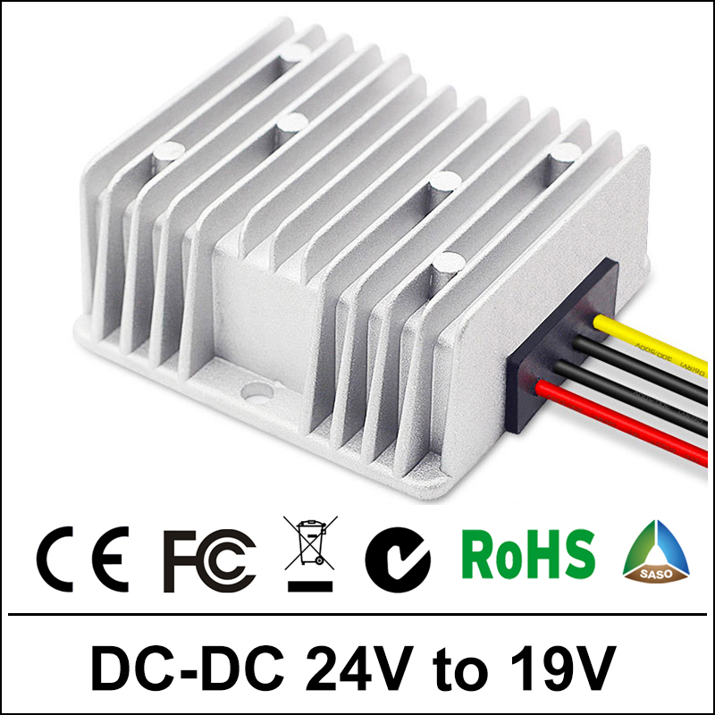 Power Supply Converter DC/DC Step-down 24V to 19V 10A Waterproof Control Car Module Low Heat Auto Protection Size 74*74*32mm ac dc step down converter module for vehicle char module 24v to 12v 8a waterproof control car module low heat auto protection