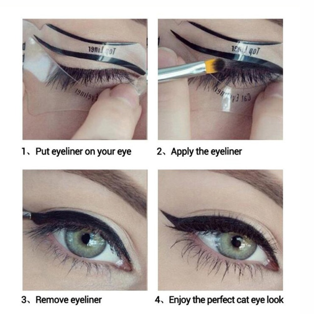 Superior e Inferior do Smokey & Cat Eye Liner delineador Stencil Template Maquiagem Ferramenta
