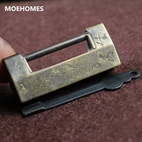 MOEHOMES Rare Chinese Old Style Brass Bronze Carved Flower Birds Statue Lock Home Decorations Metal Handicraft