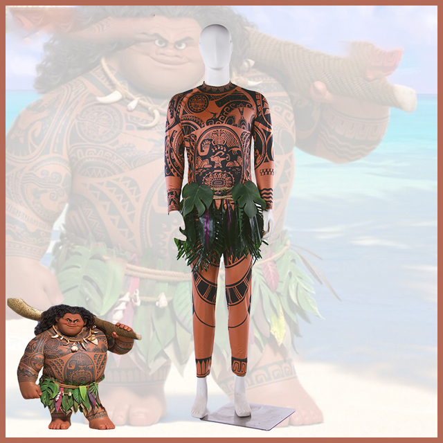 Cartoon Movie Moana Maui Cosplay Costume Halloween Carnival Uniforms Adult Spandex Outfit Full Sleeve Shirt+Pants+Hula Belt