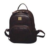2016 Fashion Vintage Black PU Leather Backpacks For Women Preppy Bookbag New Cheap Designer Backpack Brand