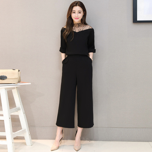 A Woman Outfit Korea'S New Spring V-Neck Gauze Splicing Holiday Two PCS Blouse Top & Tall Waist Wide-Legged Pants Suit S-XL