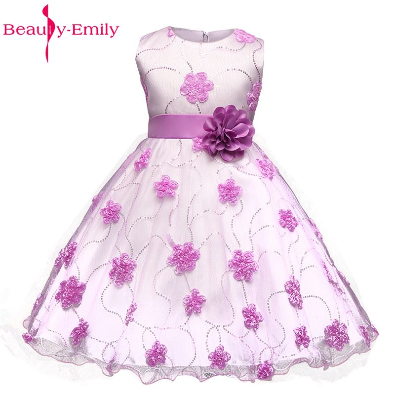 Beauty-Emily Tulle   Dresses   With Bow Floral Lace Princess Prom Pageant Party Evening Gown Wedding Party   Flower     Girl     Dress   2017
