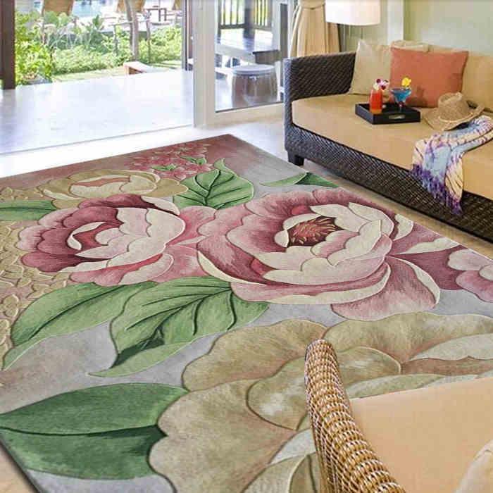 Flowers On Carpets Wool Ingredient For Parlor Living Room Bedroom  Full Size Mat Rugs Decoration Floor Rug Floral Carpet