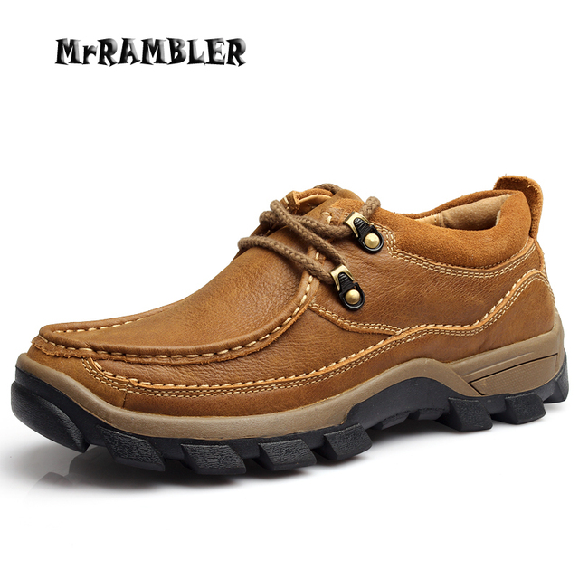 Men's Shoes Brown Casual Genuine Leather Shoes Autumn Lace Up High Quality Platform Footwear Non-slip Rubber Size 38-44
