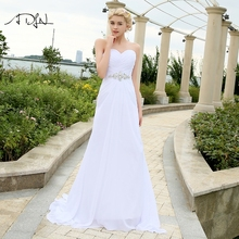 Adln estoque chiffon vestidos de casamento com strass robe de mariage querida vestido de noiva barato praia vestidos de noiva