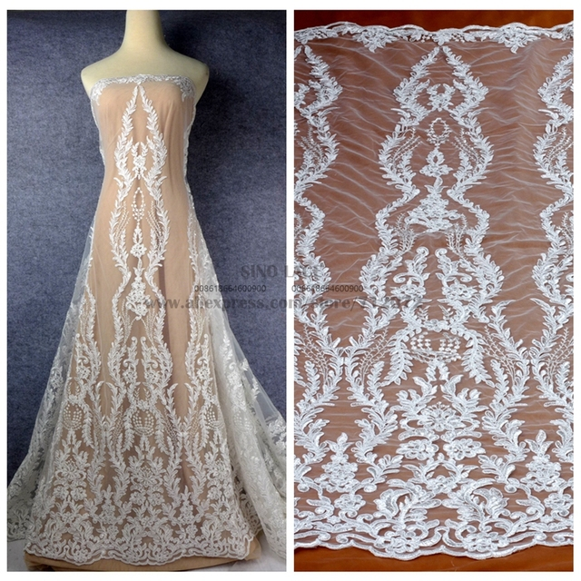 c6ecbd89c89 La Belleza 1 yard New cord clear sequins on net bridal lace fabric off  white wedding fabric 51   width SN170903