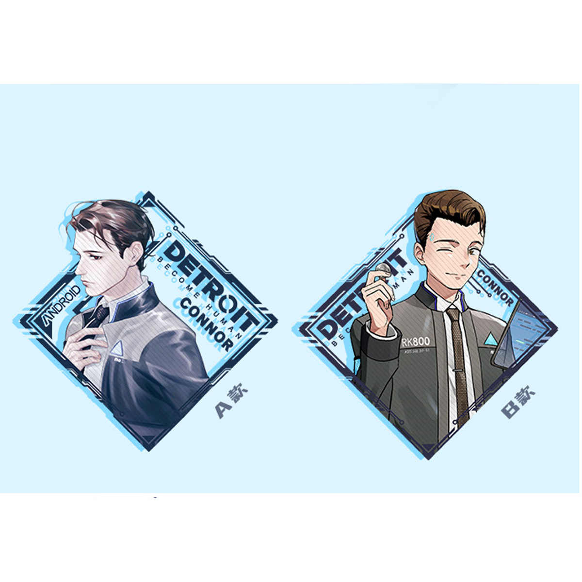 Detroit: Se Tornar Humano Connor Figura Acrílico Keychain Chaveiro Strap 2-sided 7cm