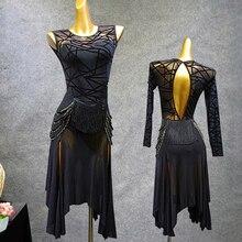 Сексуальное платье для латинских танцев для взрослых, черное платье с длинным рукавом/платье для танго без рукавов, женское профессиональное платье для латинских танцев VDB411