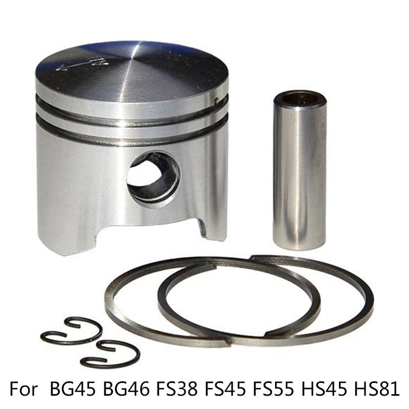 34MM FOR Stihl BG45 BG46 FS38 FS45 FS55 HS45 HS81 Trimmer Blower Piston Kit 1*Piston+1*Pin+2*Rings+2*Circlips For 42370302002