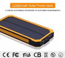 Dual USB 12000mAh Solar Battery Chargers High Capacity Double USB Solar Energy Panel Power Bank
