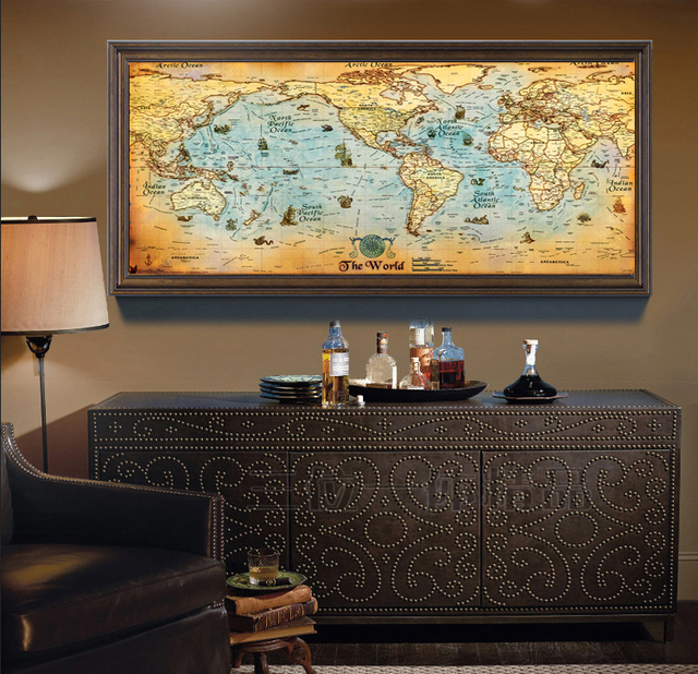Canvas oil painting vintage the world map poster for cuadros decor canvas oil painting vintage the world map poster for cuadros decor vintage world map gumiabroncs Gallery