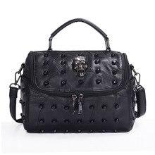 JIEROTYX Women Real Split Sheep Leather Messenger Bag Rivet Skull Tote Handbag Travel Crossbody Bolsas Femininas Black Gothic