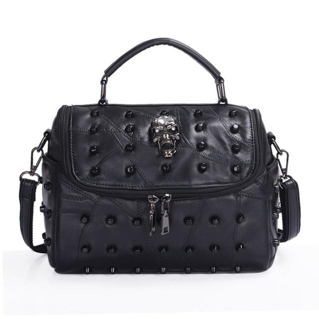 JIEROTYX sac à main en cuir de mouton véritable pour femmes, sacoche à bandoulière à rivets, crâne, fourre tout pour voyage, gothique noir