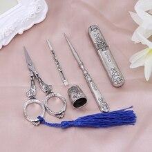 1 Juego de caja de aguja de tijera bordada Vintage dedal para coser herramientas de costura