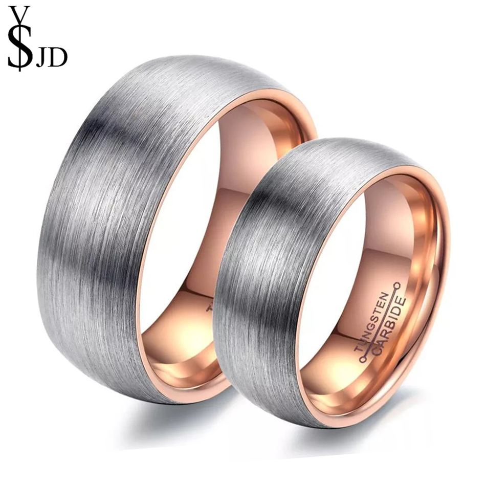 YSJD 2018 Fashion Tungsten Steel Wedding Ring 8mm/6mm Tungsten Carbide Couple Rings for Women and Men Jewelry Gift tungsten carbide steel ring with wire drawing application