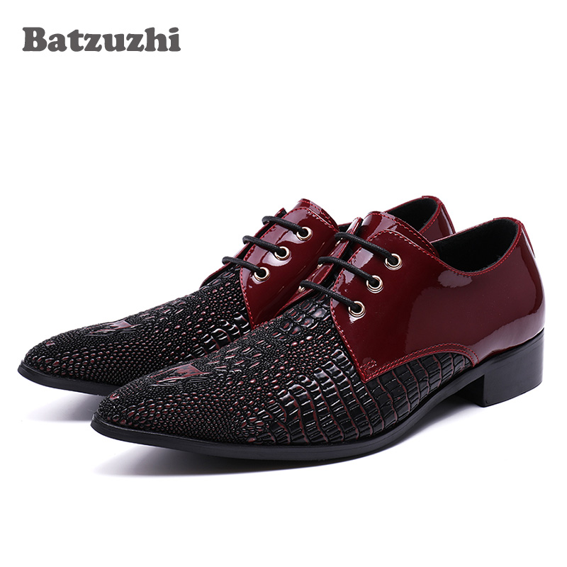 Batzuzhi Luxury Handmade Men Shoes Genuine Leather Dress Shoes Lacing Up Wine Red/Black Formal Designer's Wedding/Business Shoes ntparker wine red high heels men dress shoes leather fashion business leather shoes handmade wedding shoes for men 38 46 big