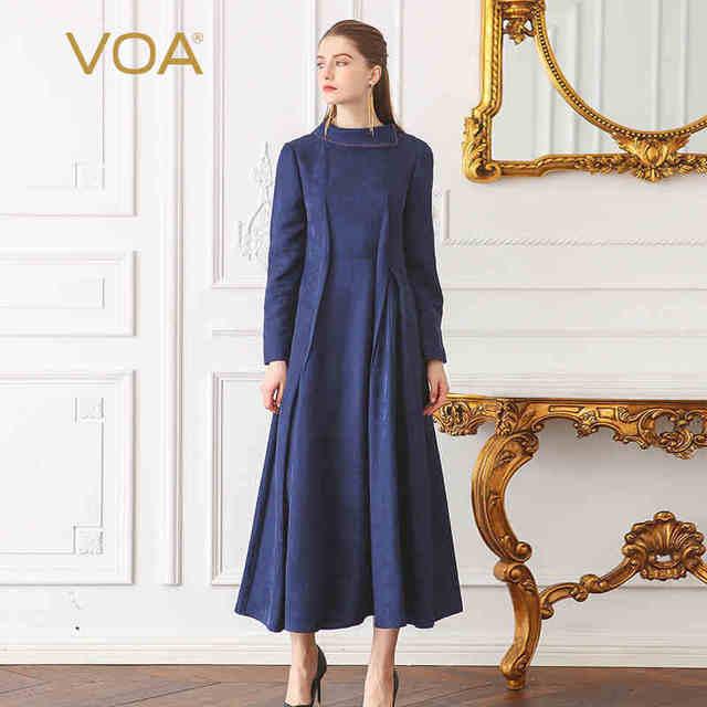 8b75868fa49e VOA Chinese Brocade Silk Dress Women Navy Blue High Waist Slim High Quality  Elegant Ladies Swing Dress Fall Long Sleeve ALX17201