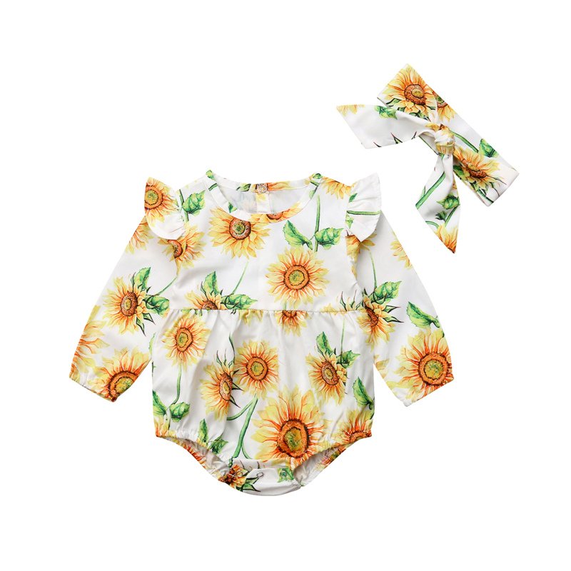 Newborn Baby Girls Ruffles Sleeve Bodysuit Jumpsuit Headband Clothes Outfits Sunflower Floral Set cut out front trumpet sleeve floral mesh bodysuit
