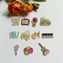 Free Shipping 120PCs Mixed Musical Instruments Decorative Buttons 2 Holes Sewing Wooden Flatblck Scrapbook