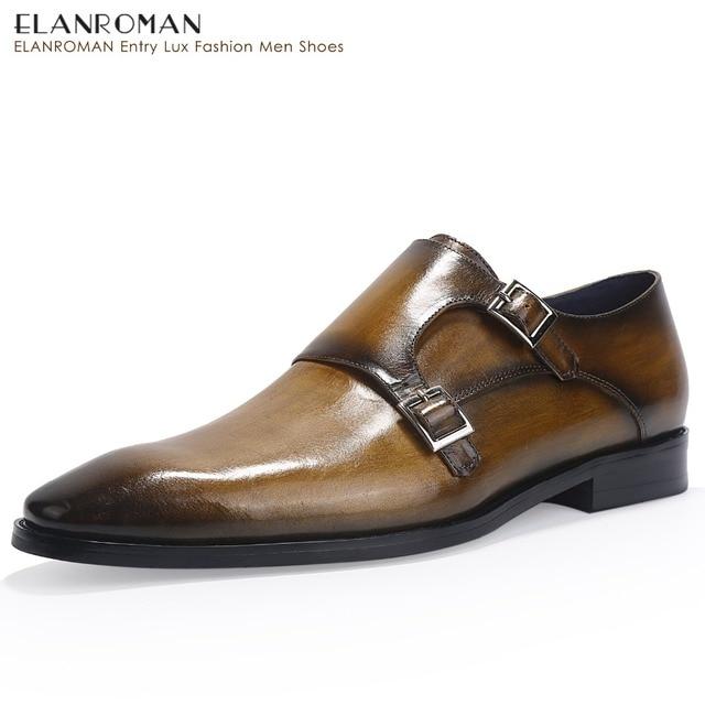 787b35d37fb4e ELANROMAN Men Shoes Dresses Leather Height Increase Double Monk Strap  Luxury Brand Shoes Men Handmade Formal Shoes