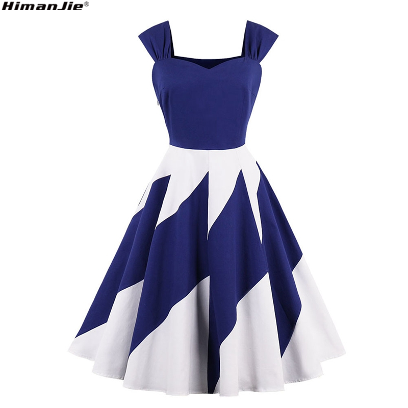 retro Sexy strapless white blue patchwork party dresses Women sleeveless  Spell color fresh cotton vintage dresses plus size 4XL 7fb1c5506548