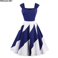 Retro Sexy Strapless White Blue Patchwork Party Dresses Women Sleeveless Spell Color Fresh Cotton Vintage Dresses