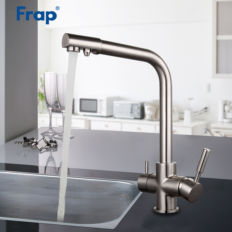FRAP Kitchen Faucets new nickel brushed kitchen sink faucet water mixer faucet taps with filered water