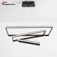 Dragonscence современные светодиодные Люстра для зала Свет прямоугольник рамки блеск освещение алюминий лампа для столовой спальня ресторан