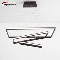 Dragonscence Modern Led Loft chandelier light Rectangle Frame Lustre Lighting Aluminum Lamp For Dinning Room Bedroom Restaurant