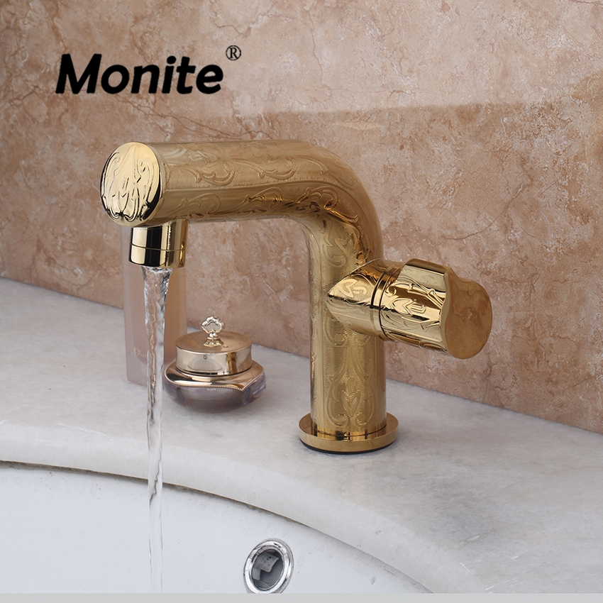 Luxury Bathroom Basin Sink Faucet Contemporary Bathroom Gold Brass Faucets Stream Spout Deck Mount Mixer Taps