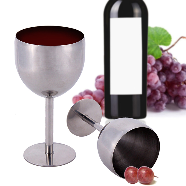 Superior 380ML High End Atmosphere Brilliant Stainless Steel Wine Glass Wine Tasting  Goblet Barware Kitchen Tools