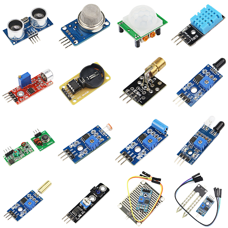 16 pcs Raspberry Pi 3 B+ Sensor Module 16 Kinds of Sensors for UNO R3 for MEGA 2560 Basic 16 in 1 Sensor for DIY