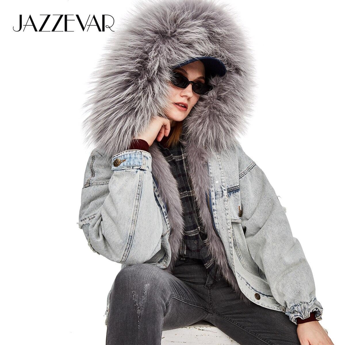 Veste Nouveau model Jazzevar Model Grande Surdimensionné Col Haute Capuche Couture Doublé En Femmes Manteau 2018 À Parka Rue De 1 Fourrure Jean 2 model Hiver Véritable 2 5wggnx10fq