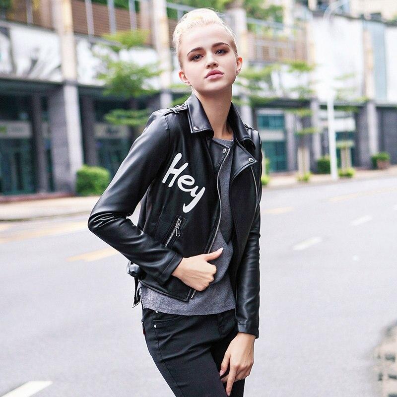 Spring autumn Fashion brand latters pattern printed Pu   leather   jacket Ladies Street style motorcar PU   Leather   Jacket wq2392
