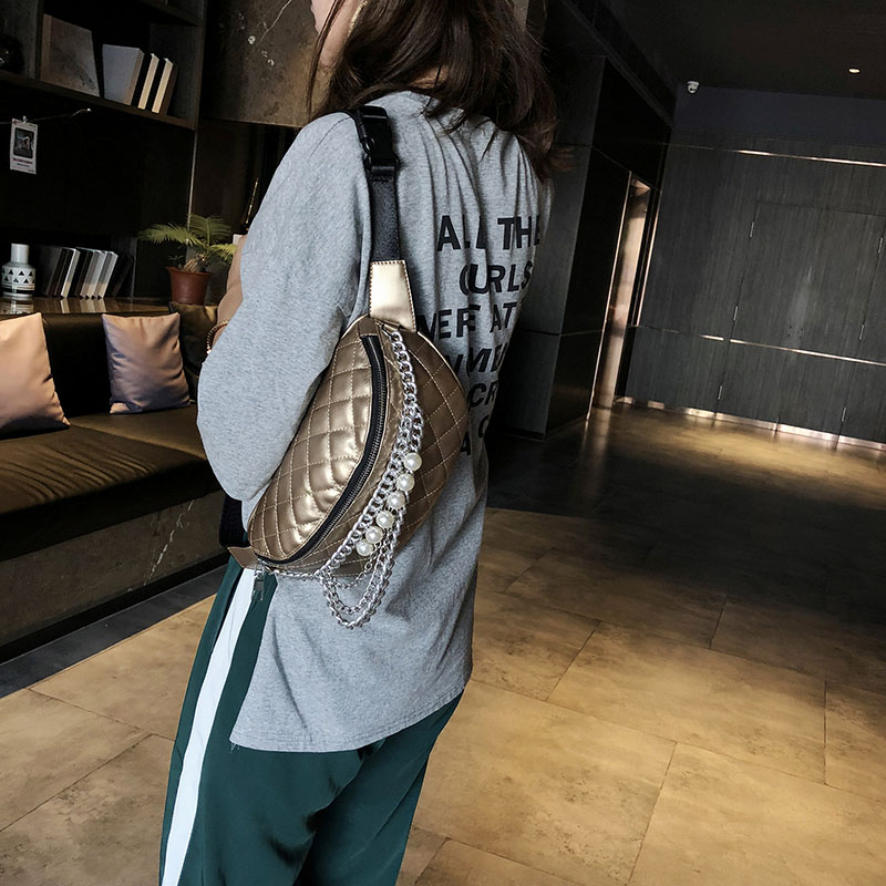 Women's Lingge Waist Bag Fashion Beaded Chain Pocket Fanny Pack PU Leather Shoulder Messenger Bag Banana Bags Small Pocket