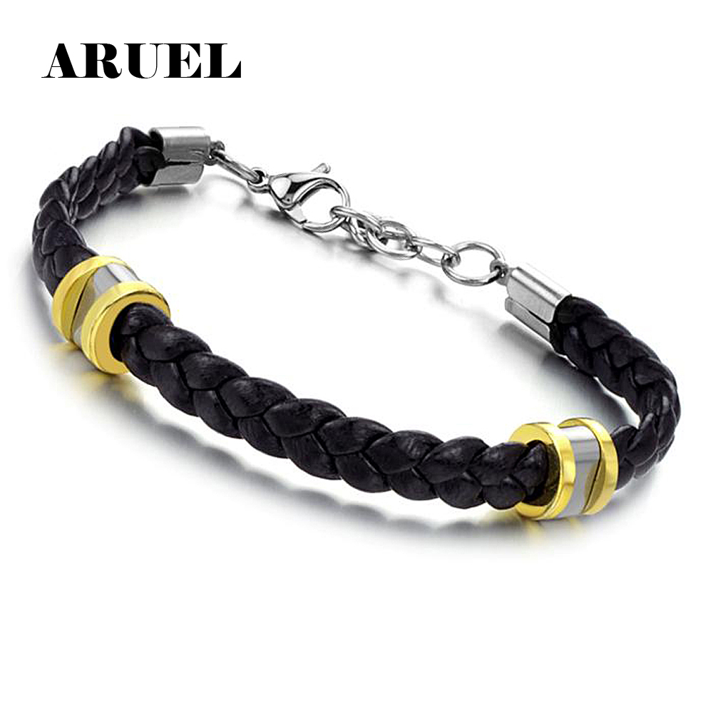 Silver Color Cool Jewelry Stainless Steel  Black Braided Leather Bracelets & Bangles Pulseras Gift