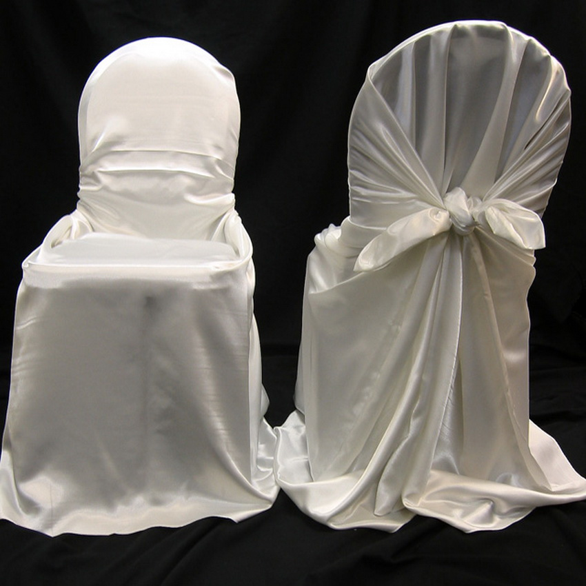150pcs White Satin Back Self tie Chair Cover,White Satin Universal Chair Cover for Wedding Events &Party Decoration