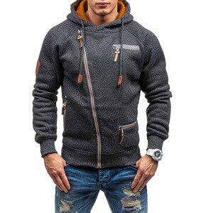 Image 3 - Nova moda masculina camisola com zíper outonnsolid malha streetwear masculino suéteres de inverno com cordão casual camisolas finas hip hop