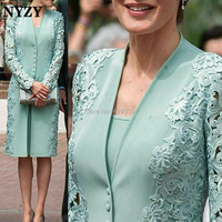 NYZY M168 Aqua Green Formal Dress 2 Piece Mother of the Bride Groom Dresses Jacket Bolero Outfits Suits Elegant