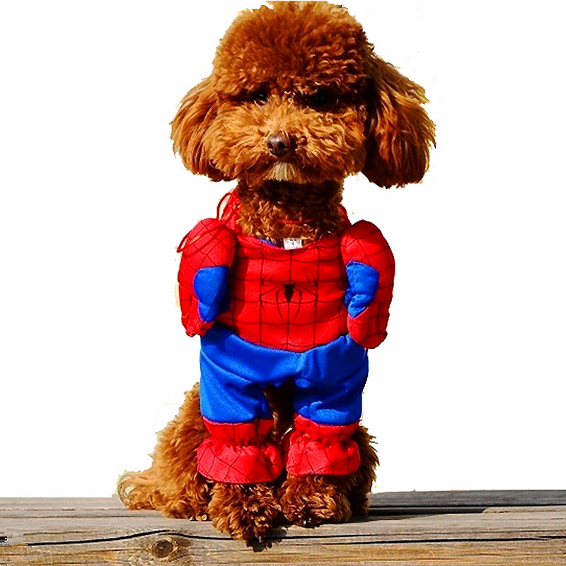 2016 New <font><b>Pet</b></font> Cat Dog <font><b>Spiderman</b></font> <font><b>Costume</b></font> Suit Puppy Dog Clothes Superhero Outfit Apparel Clothing for small dogs Free Shipping 25