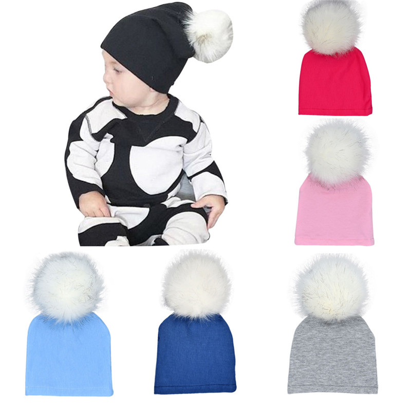 High Quality Kids Newborn Infant Baby Winter Warm Solid Hats Hairball Beanie Cotton Cap Photo Photography Props p# dropship