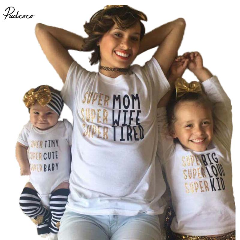 364282504754f US $2.8 15% OFF|Mom Kid Baby Famiy matching T shirt Kids Tee Letter  Bodysuit Newborn Infant Babies Boys Girls Clothes Outfits-in Matching  Family ...