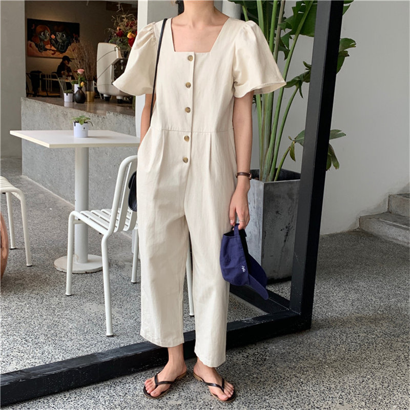 Alien Kitty Solid Loose Vintage Short Sleeves Fashion Casual Women Jumpsuit Square Collar High Quality Pants Jumpsuits Overalls