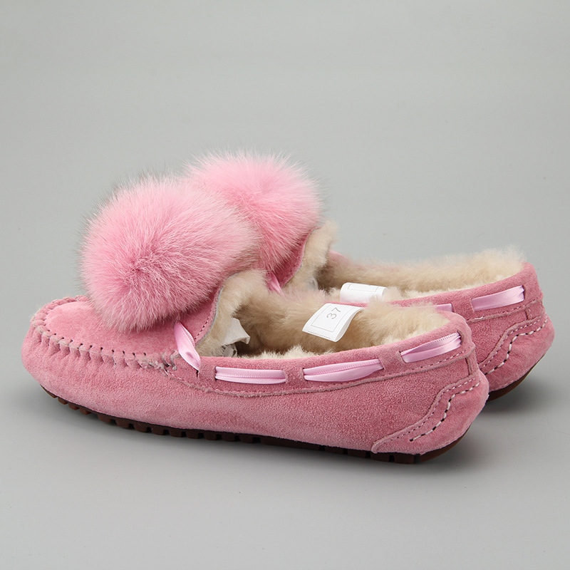 2017 Winter Women Loafers Sheep Fur Shearling Warm Shoes Fashion Pink Leather Flats Slip On Designer Moccasins For Ladies latest style women s loafers girl white shoes fashion women s shoes 2017 ox fur embroider deodorization massage