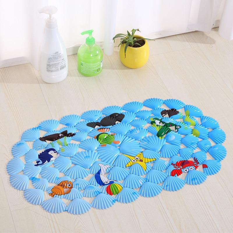 39 * 69cm 블루 만화 목욕 매트 만화 셸 화장실 흡입 컵 - 가정 용품