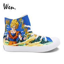 Wen Custom Shoes Hand Painted Dragon Ball Saiyan Canvas Sneakers Anime Cosplay Shoes High Help Lacing Espadrilles Flat Plimsolls