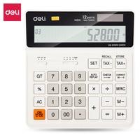 Deli 120-проверяйте налоговый калькулятор 12 цифр двойной мощности солнечной энергии бизнес офисное управление, Настольный калькулятор белый ...