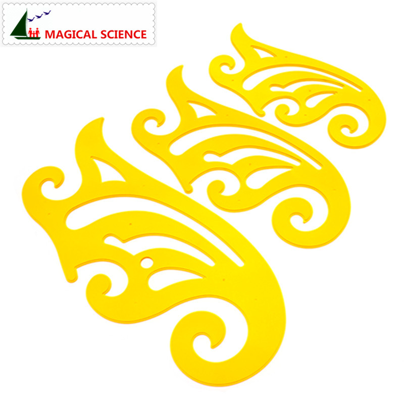 20cm 25cm 30cm Length French Curve Ruler Transparent Plastic Yellow Vary Form Rulers For Drawings Clothing Pattern Template